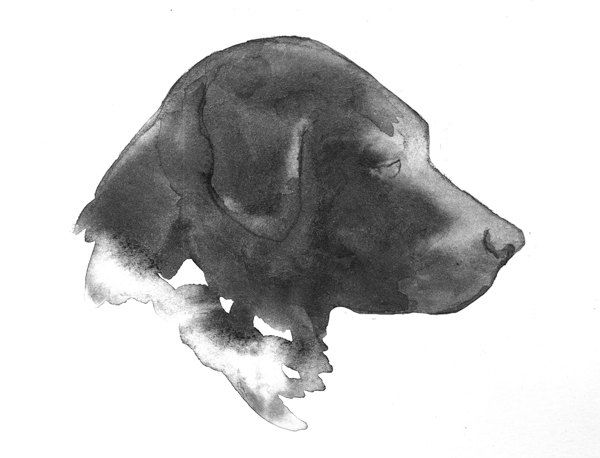 Black Lab Dog Silhouette Watercolor Painting 5x7 30 00 Via