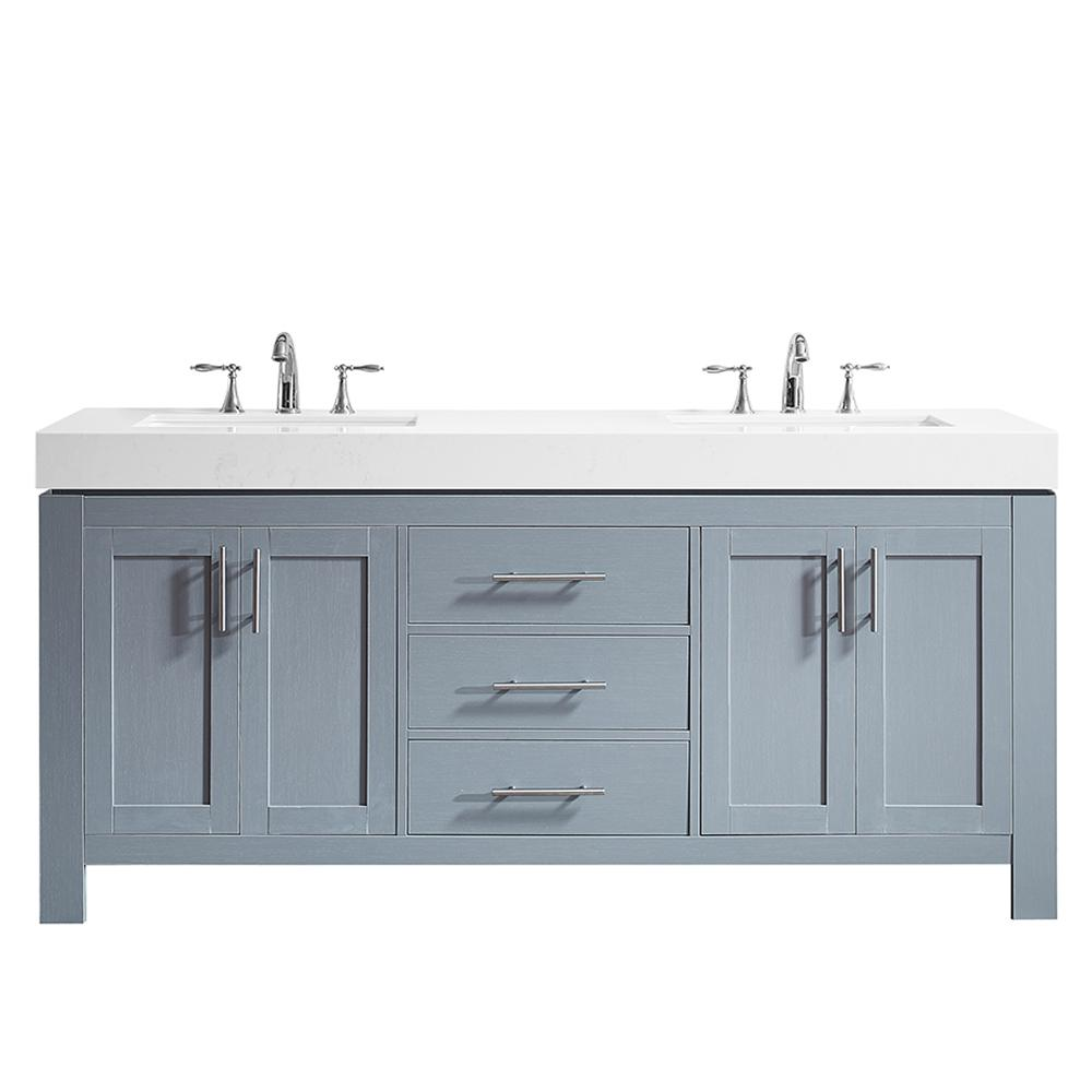 Roswell Essex 72 In W X 22 In D Bath Vanity In Grey With Quartz