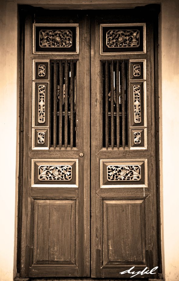 A typical front Door of a Peranakan home, not as elaborate as some ...