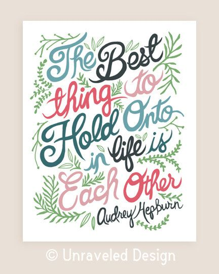 40th Wedding Anniversary Quotes: 8x10-in Audrey Hepburn Quote Illustration Print