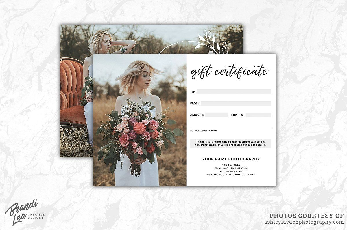 Photography Gift Certificate Templ Commercial Free Fonts Cards S