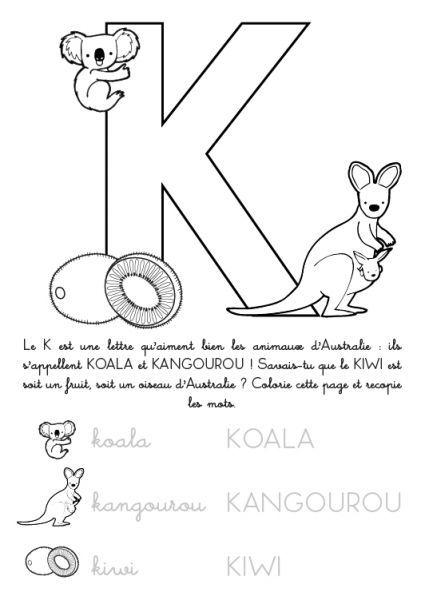 coloriage à imprimer alphabet lettre k brico pinterest