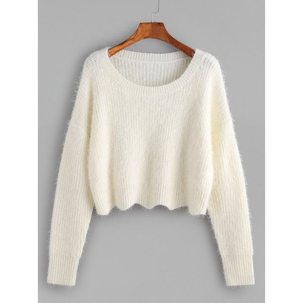 9974a1251a Scoop Neck Cropped Fluffy Sweater CREAM ( 25) ❤ liked on Polyvore featuring  tops
