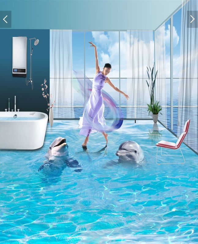 3 d pvc flooring custom wall sticker a pair of ocean for Dolphins paradise wall mural