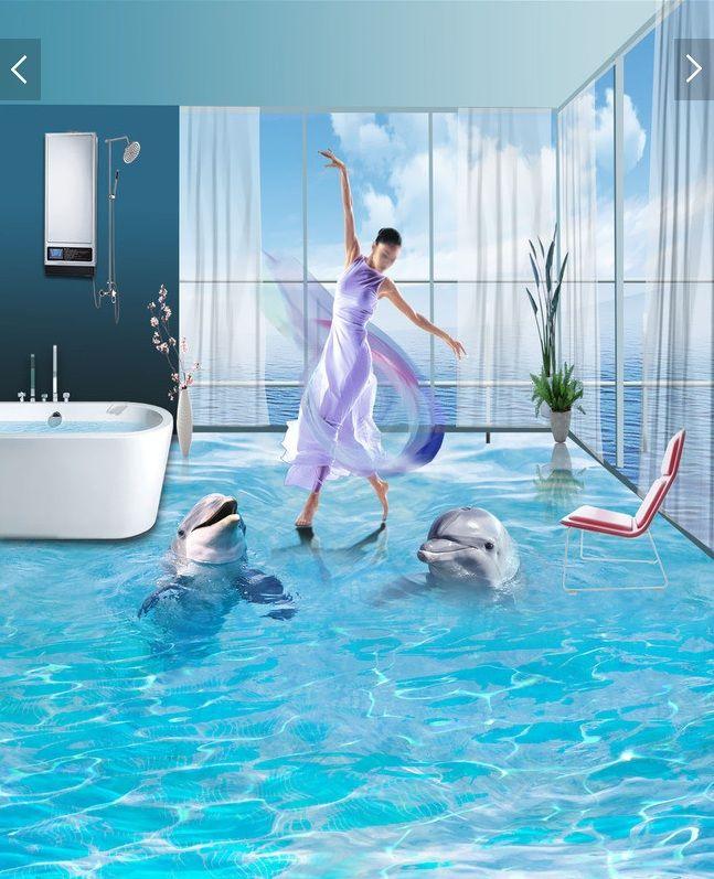 3 d pvc flooring custom wall sticker a pair of ocean for Dolphins paradise wall mural