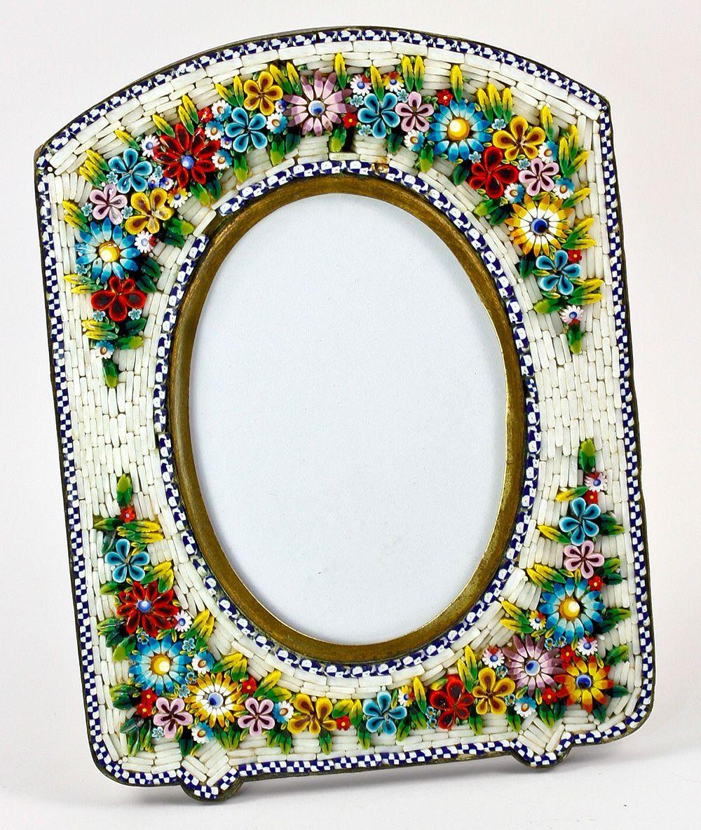 antique 5 tall edwardian grand tour micro mosaic frame micromosaic - Mosaic Frames