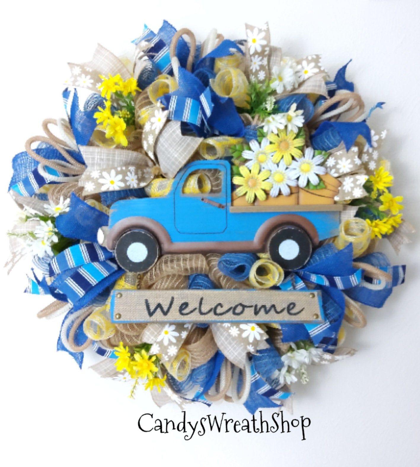 Photo of Welcome Wreath, Spring Wreath, Daisy Wreath, Truck Wreath, Floral Wreath, Farmhouse Wreath, Mother's Day Wreath, Spring Decor, Summer Decor