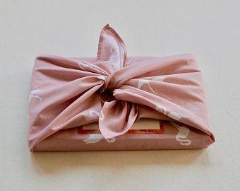 Furoshiki rose flamants roses, emballage cadeau en tissu