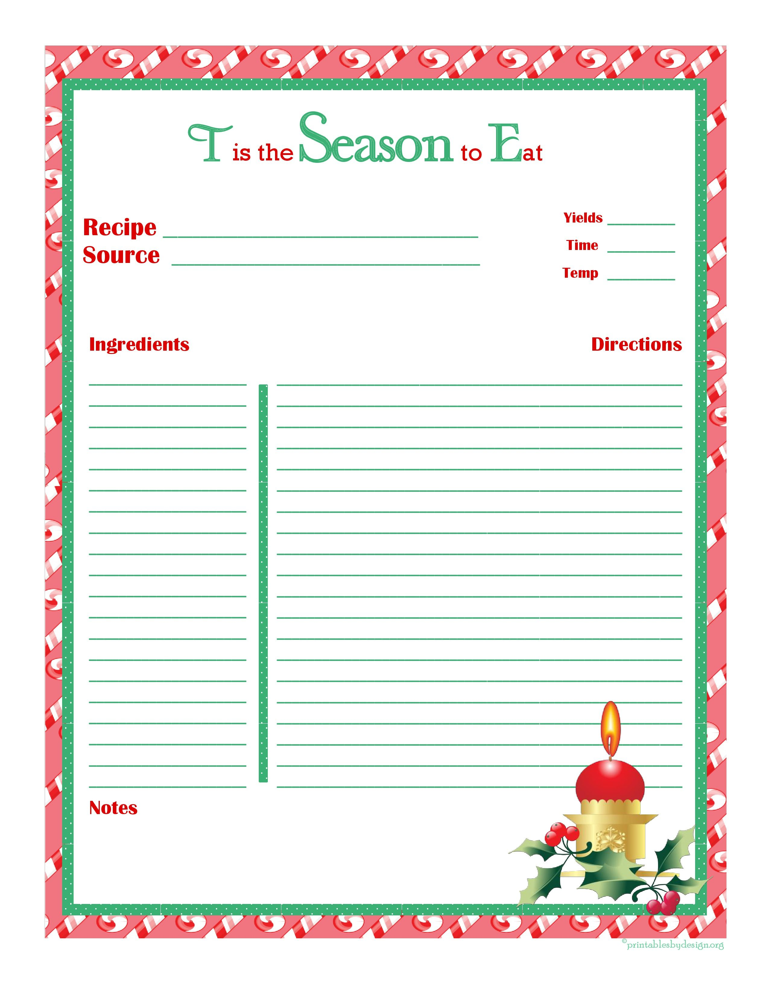 Christmas Recipe Card Full Page Christmas Recipe Cards Printable Recipe Cards Template Christmas Recipe Cards