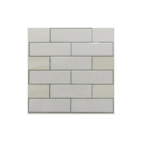 Sticktiles 10 5 In X 10 5 In White Subway Peel And Stick Tiles 4 Pack Peel Stick Tile Stick On Tiles Smart Tiles