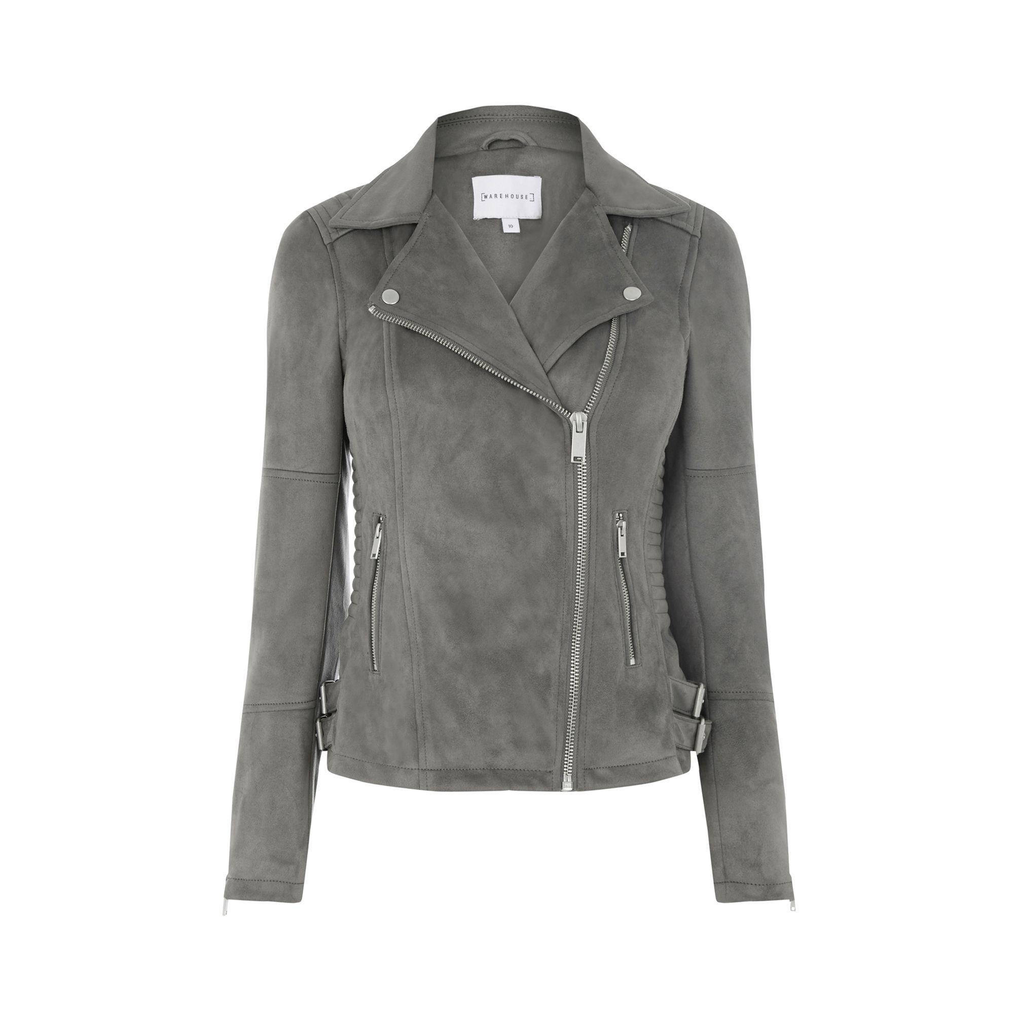 292c0cb25f3 Warehouse, Suedette Biker Jacket Dark Grey 0 | SPRING + SUMMER ...