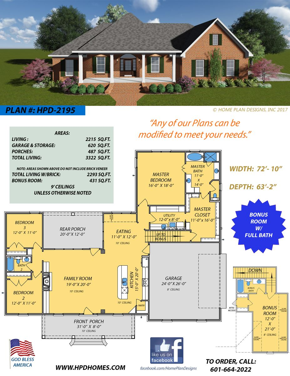 Home Plan Designs Offers Custom And Stock Plan Designs For New Home Builders Contact Judson Wallace At 601 664 202 House Plans Dream House Plans My Dream Home