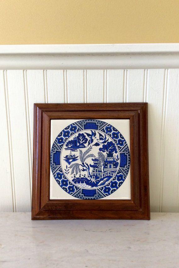 vintage ornate wood framed, blue willow, tile trivet, chinoiserie