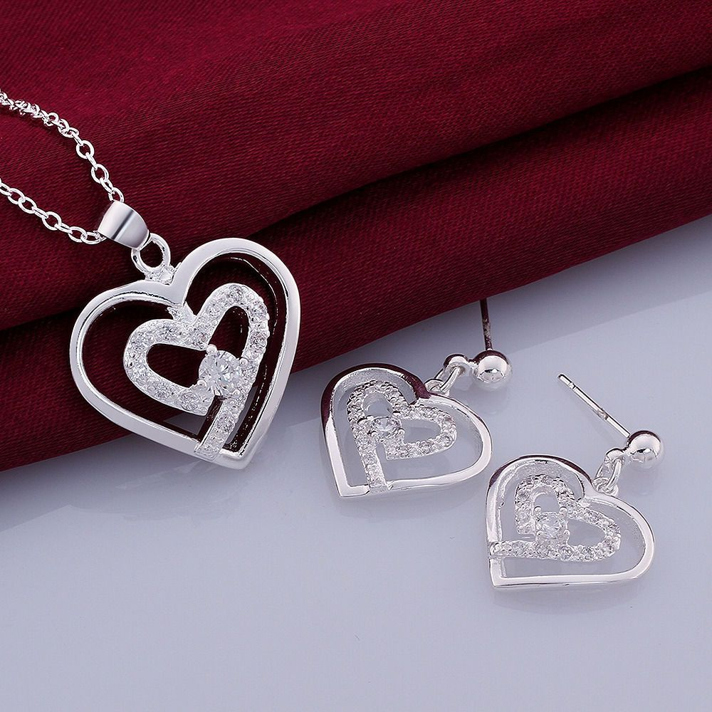 colors sterling silver zircon double heart necklaceearrings