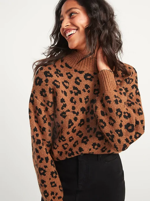 Old Navy Cozy Leopard-Print Mock-Neck Sweater for