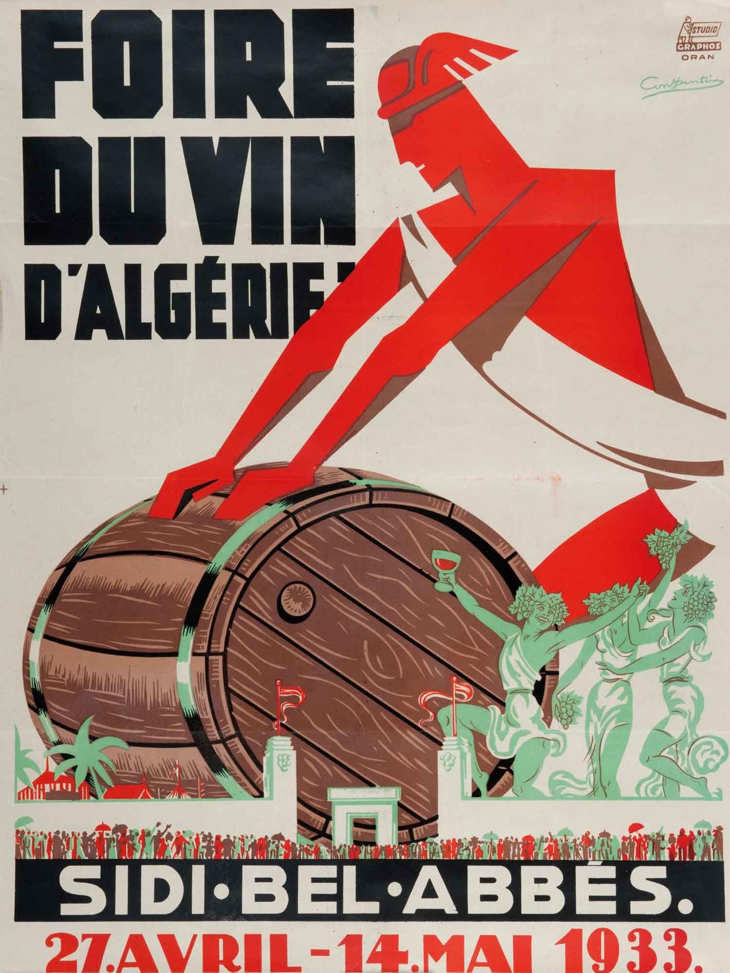 Constantin Foire Du Vin D Algerie 1933 Affiche Retro Affiche De Voyage Vintage Affiche De Vin