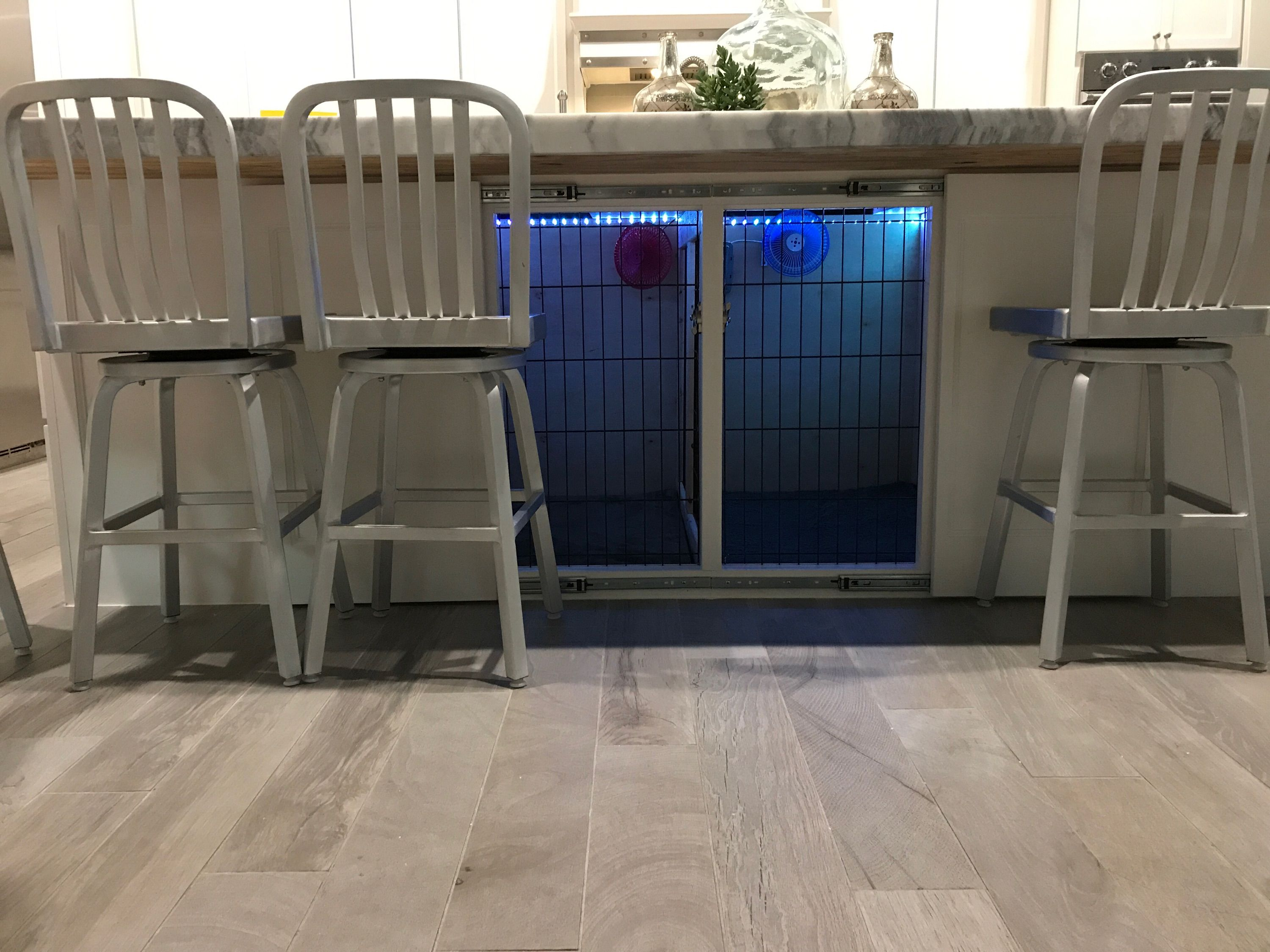 Dog Kennel With Led Lights And Fans Under Kitchen Island