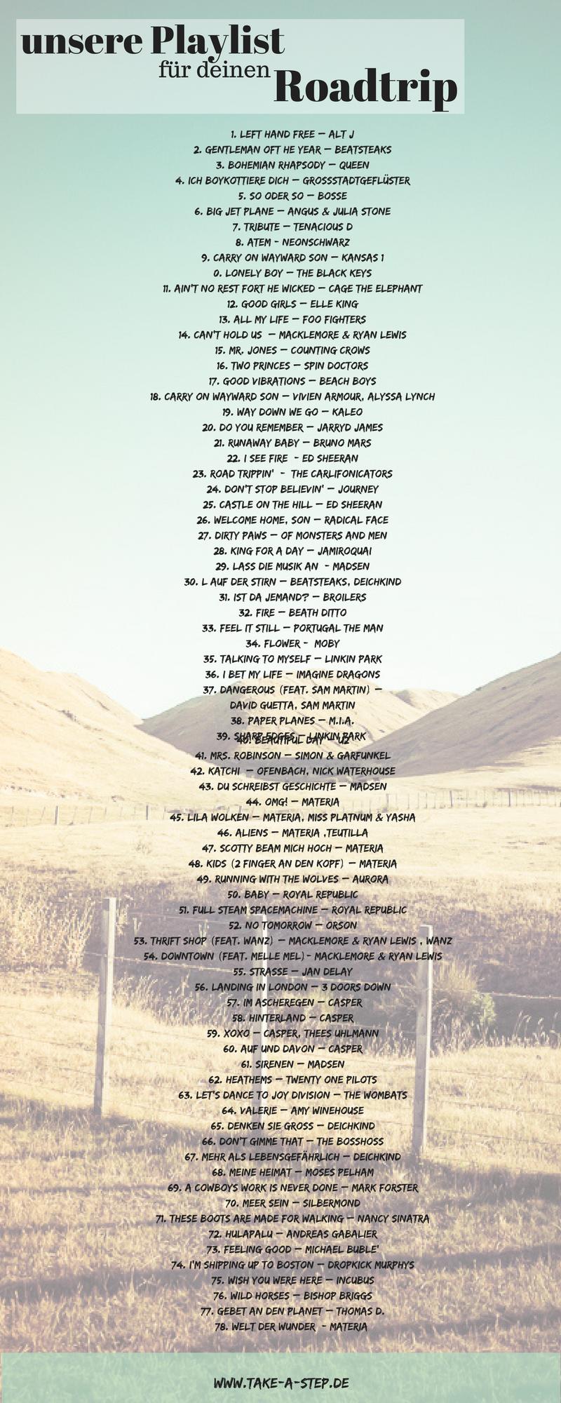 Die #Playlist für deinen #Roadtrip. Auch bei #Spotify. Der #Soundtrack mit der besten #Musik für deine #Reise.