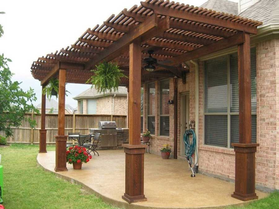 Home Decor Ideas: Wooden Patio Cover Ideas And Brick Flooring ... Outdoor  ...