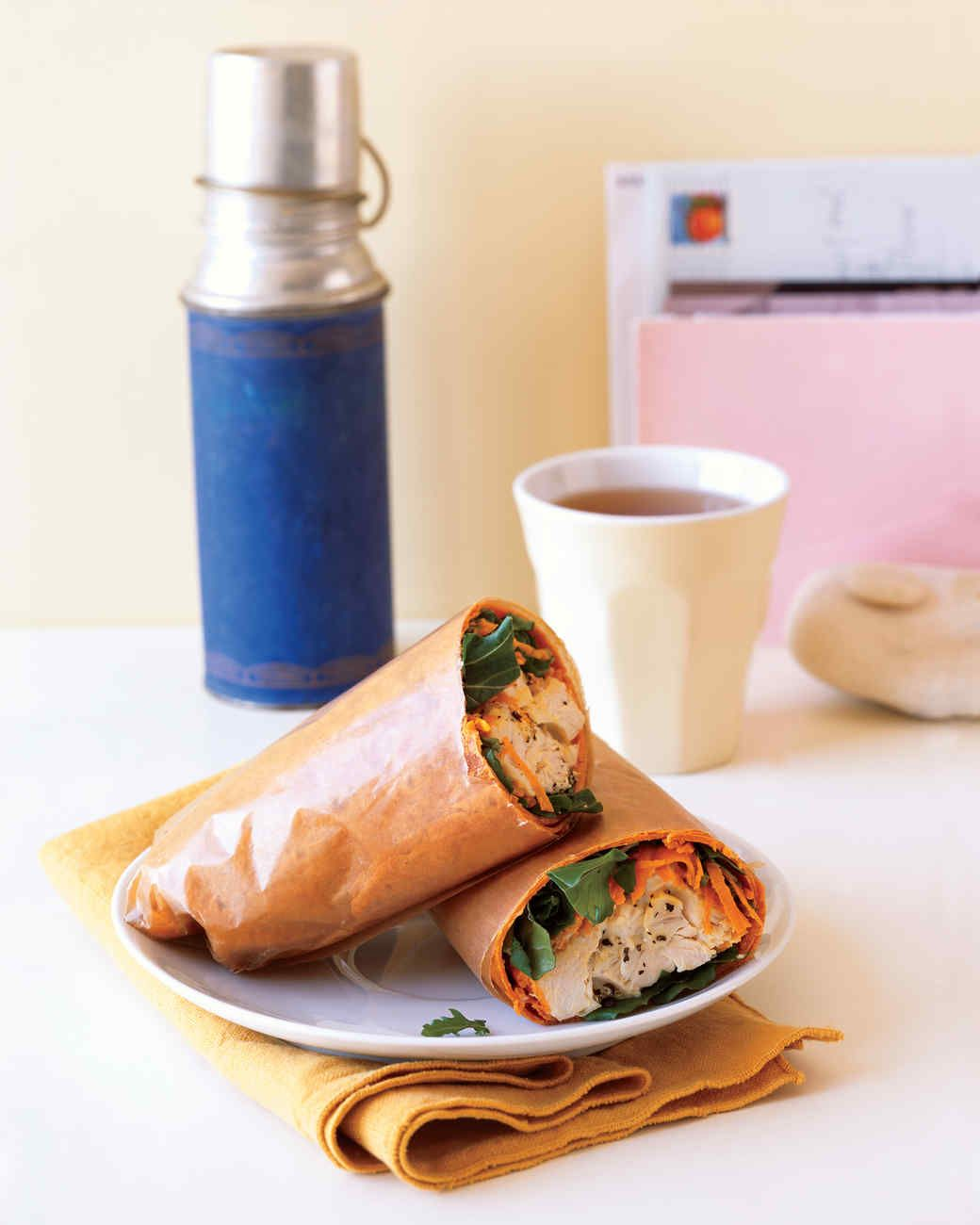 This lunch gets its energizing nutrients from moist turkey, crunchy carrot and spinach, and a flavored tortilla.