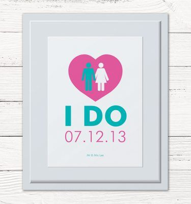 "I Do"" Personalised Framed Print.  Ideal wedding or anniversary present."