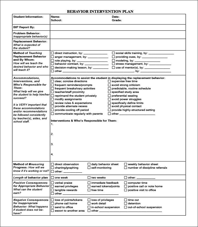 Behavior Intervention Plan Template - 4 Free Word, PDF Documents - management contract template