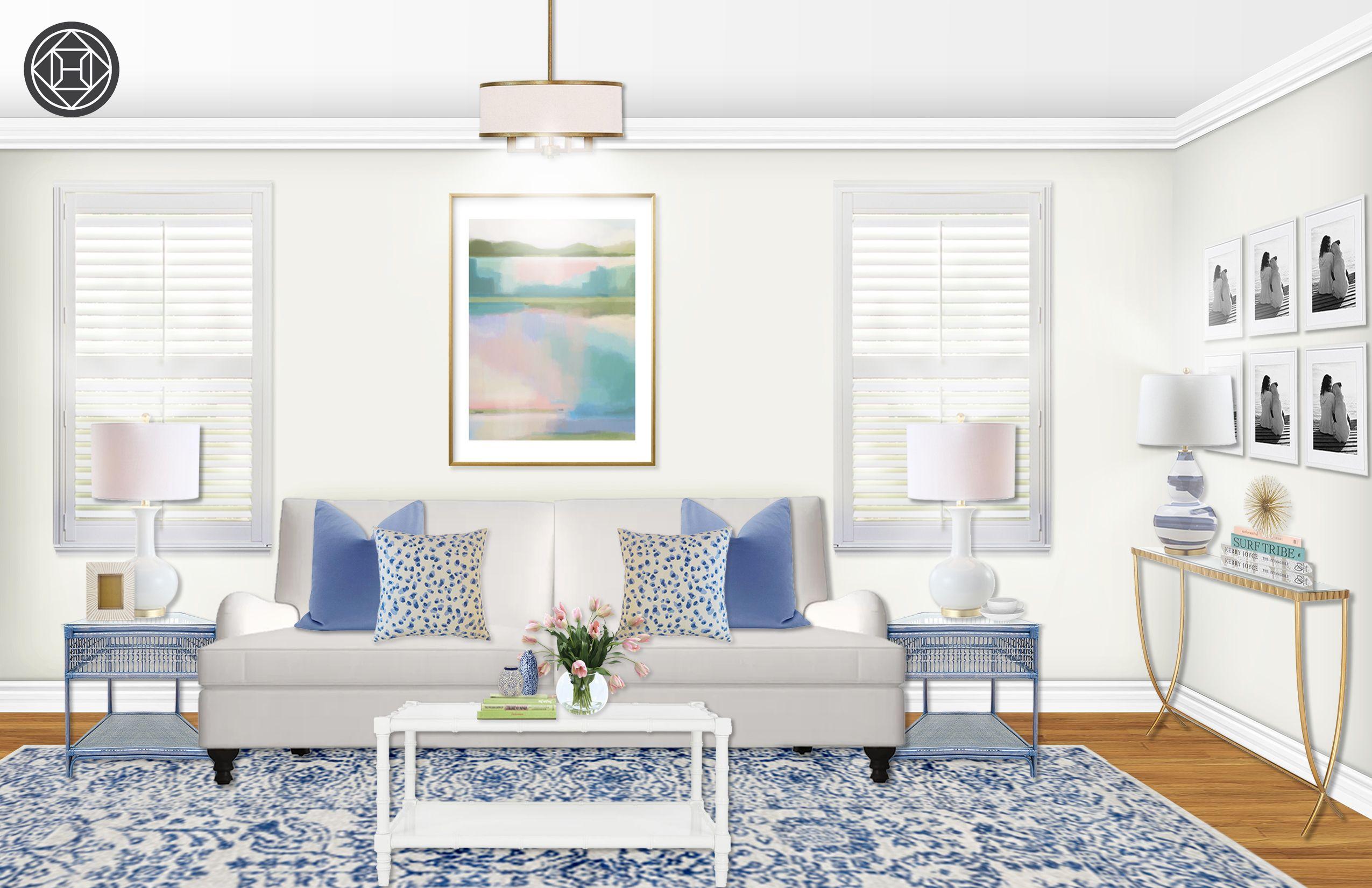 Glam Preppy Living Room Design By Havenly Interior Designer