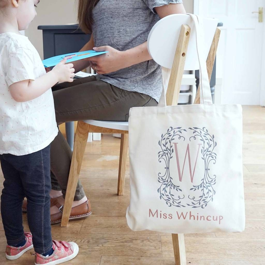 Personalised teacher tote bag end of term school gift pencils best teacher