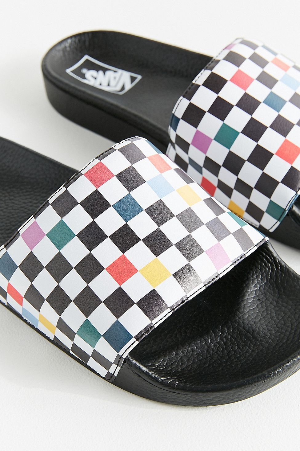 0231d28fc80 Urban Outfitters Vans Party Checkerboard Pool Slide - W 9.5 M 8 ...