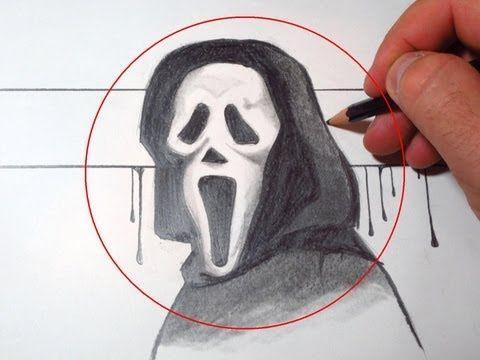 How To Draw Scream Mask Ghostface Drawings Scream Mask Spongebob Drawings