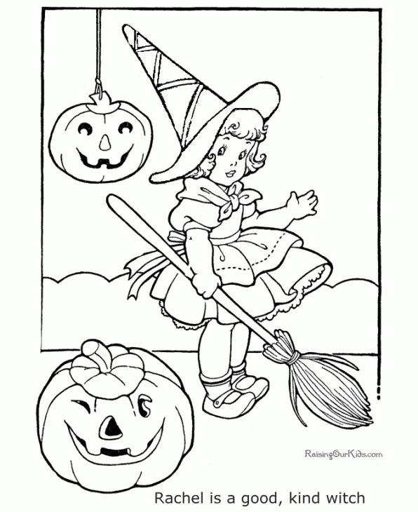 Free Online Coloring Picture Of Little Witch Girl | Fantasy Coloring ...