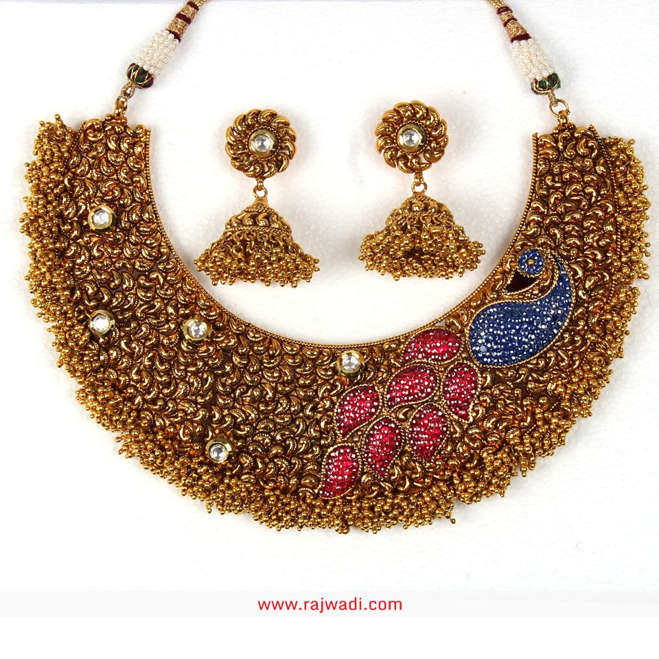Awesome Pink, Blue and Golden coloured Necklace Set #Rajwadi ...