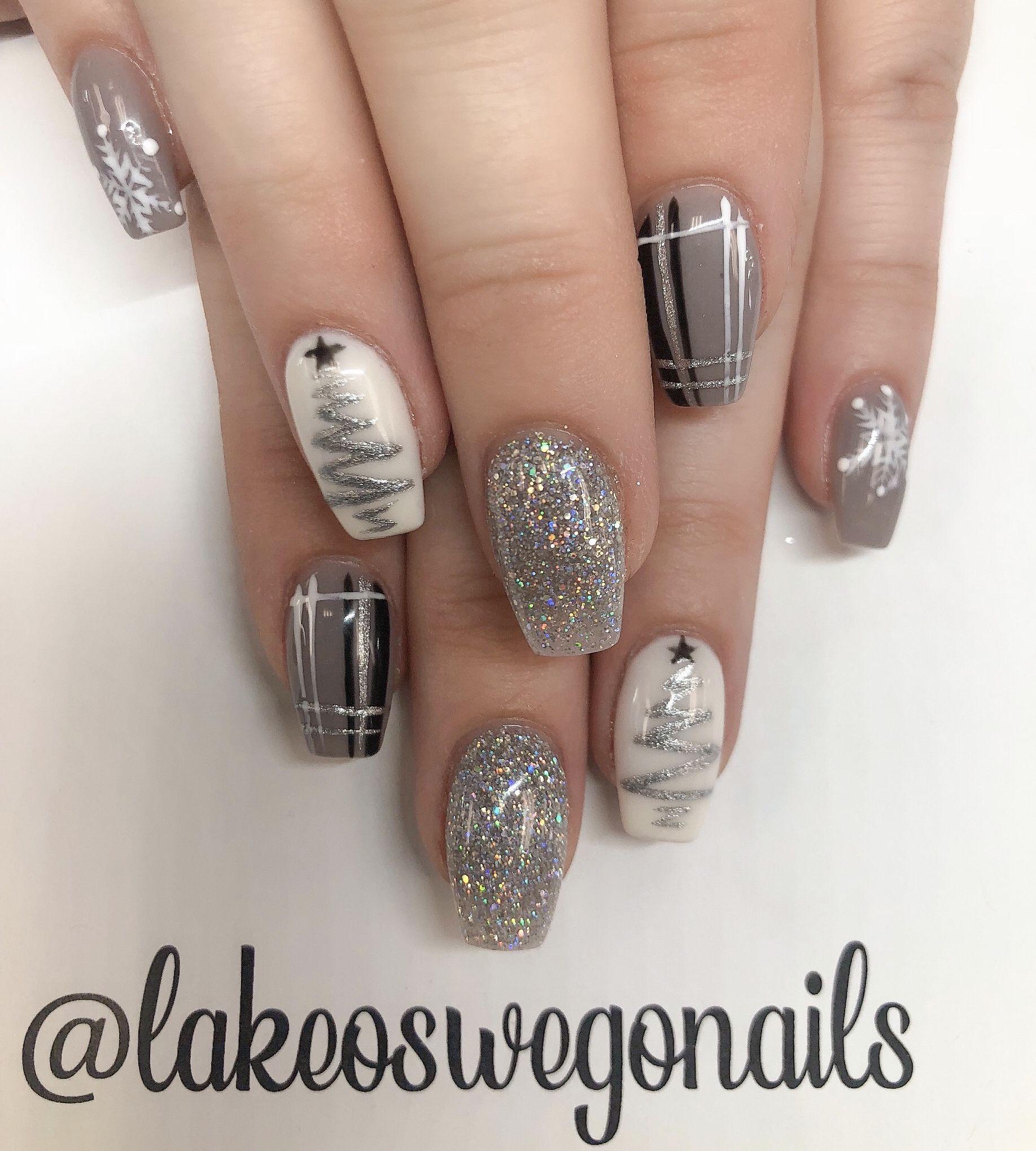 Subtle Monochromatic Christmas Nails Grey Christmas Nails December Nails Christmas Gel Nails