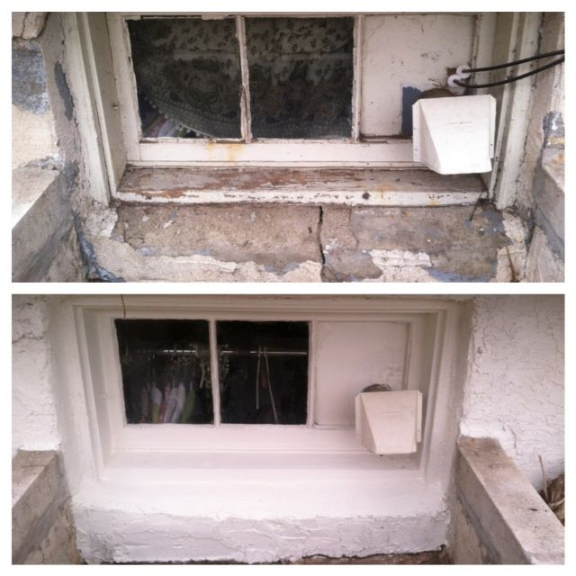 Basement Window Well #1 (2 More To Go). Patched Stucco