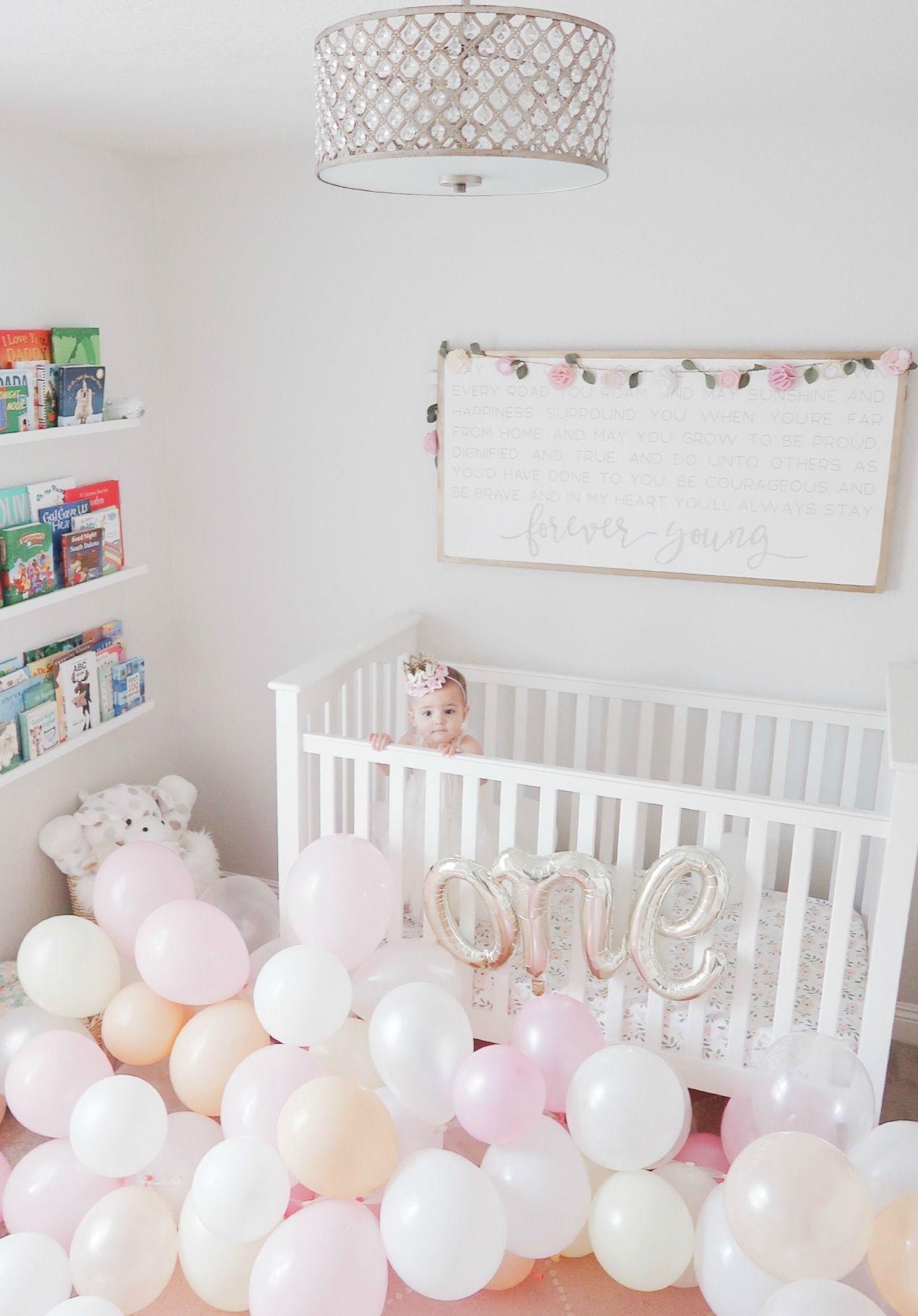 first birthday balloons crib Girl birthday decorations