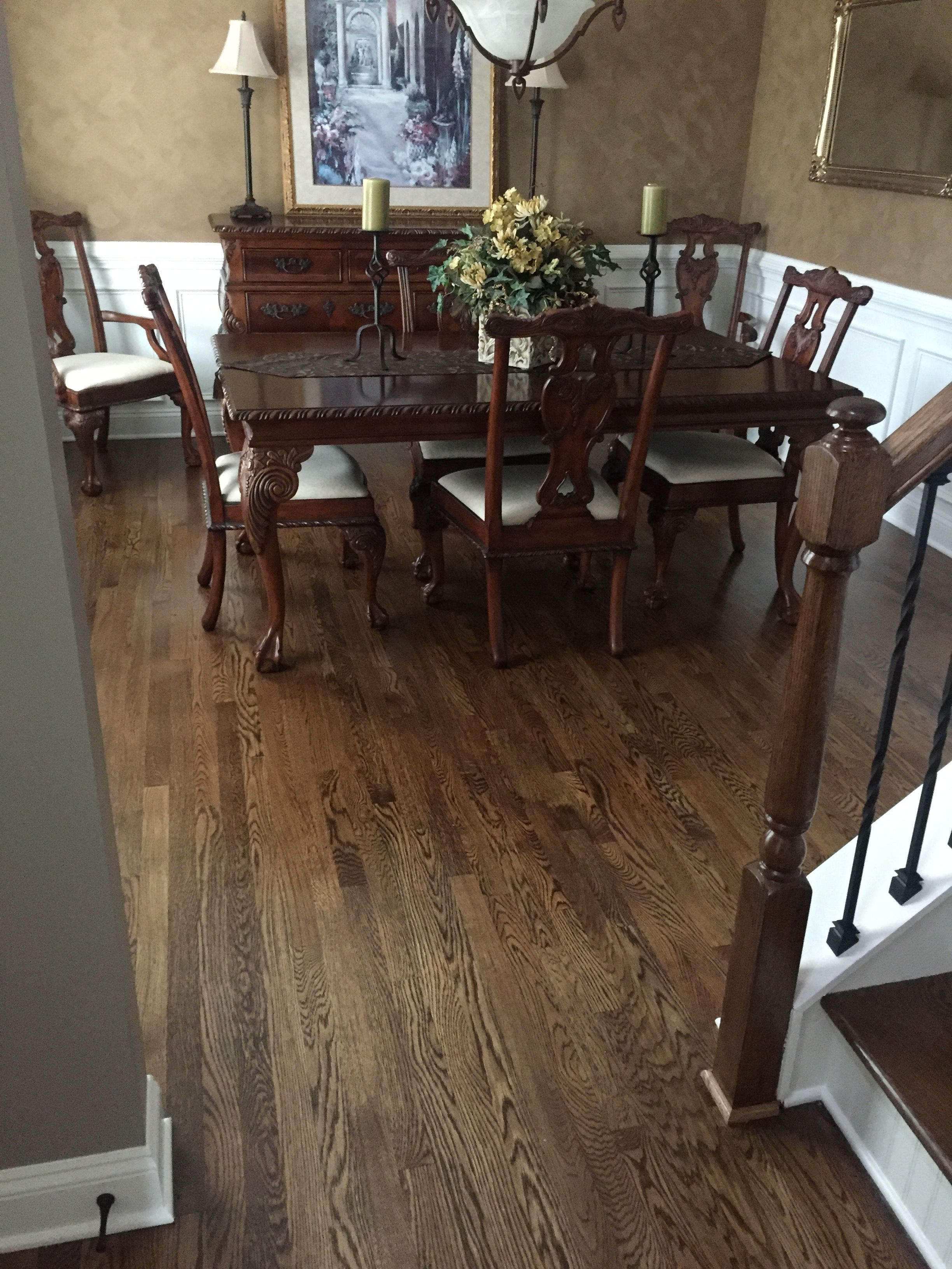 Stain mix provincial and dark walnut on red oak farmhouse