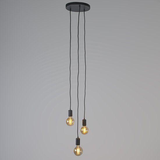 qazqa facil 3 hanglamp 3 lichts 250 mm zwart interior