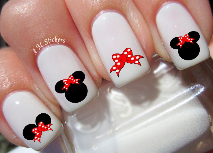 Minnie Mouse Red Bow Nail Decals by AMnails on Etsy https://www.etsy ...