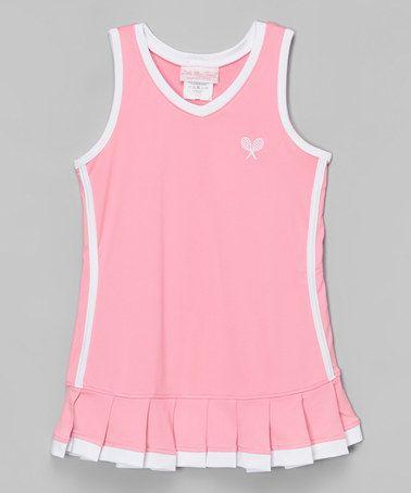 Little Miss Tennis Pink White Tennis Dress Toddler Girls