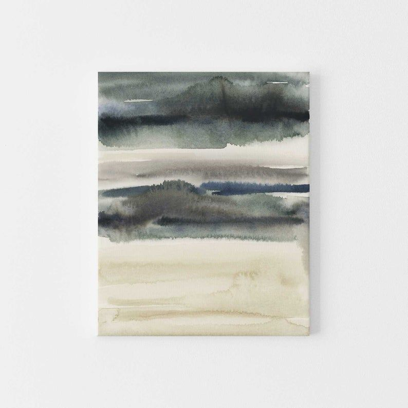 Stormy Lake Landscape Watercolor Painting Slate Blue Gray Etsy Wall Art Prints Abstract Wall Art Watercolor Paintings Abstract