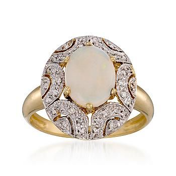 Opal and .15 ct. t.w. Diamond Ring In 14kt Yellow Gold - lovely