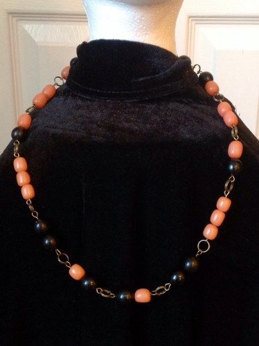 Amber, Coral and Natural Brown Buri Seed Bead Necklace | Free Shipping, EvezBeadz.artfire.com, make A best offer