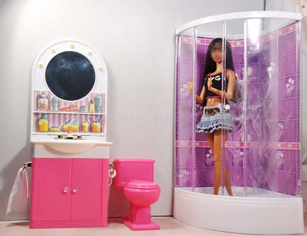 barbie doll house furniture sets. Barbie Size Dollhouse Furniture Bathroom W Shower Toilet Table Bathtub Play Set Doll House Sets T