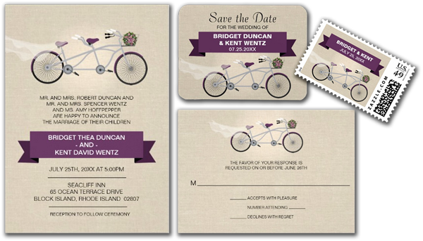 Faux Linen Plum Tandem Bicycle Wedding Invitation Save the Dates