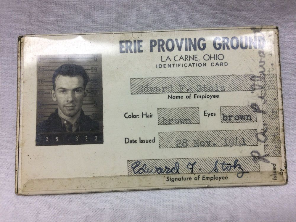 wwii erie proving ground identification card 1941 army gunner