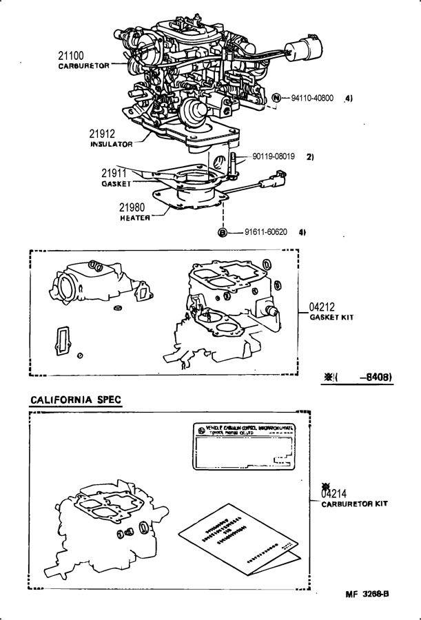 Carburetor Mounting Carburetor 4runner Toyota 4runner