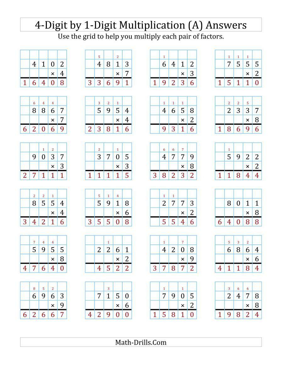 Box Method Multiplication Worksheet The 4 Digit By 1 Digit Multiplication With Grid Support In 2020 Multiplication Worksheets Multiplication Box Method Multiplication