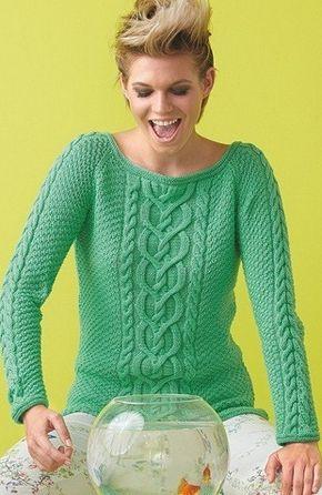 43115abd4275 Красивый узор для пуловера, связанного спицами. Схема вязания ...