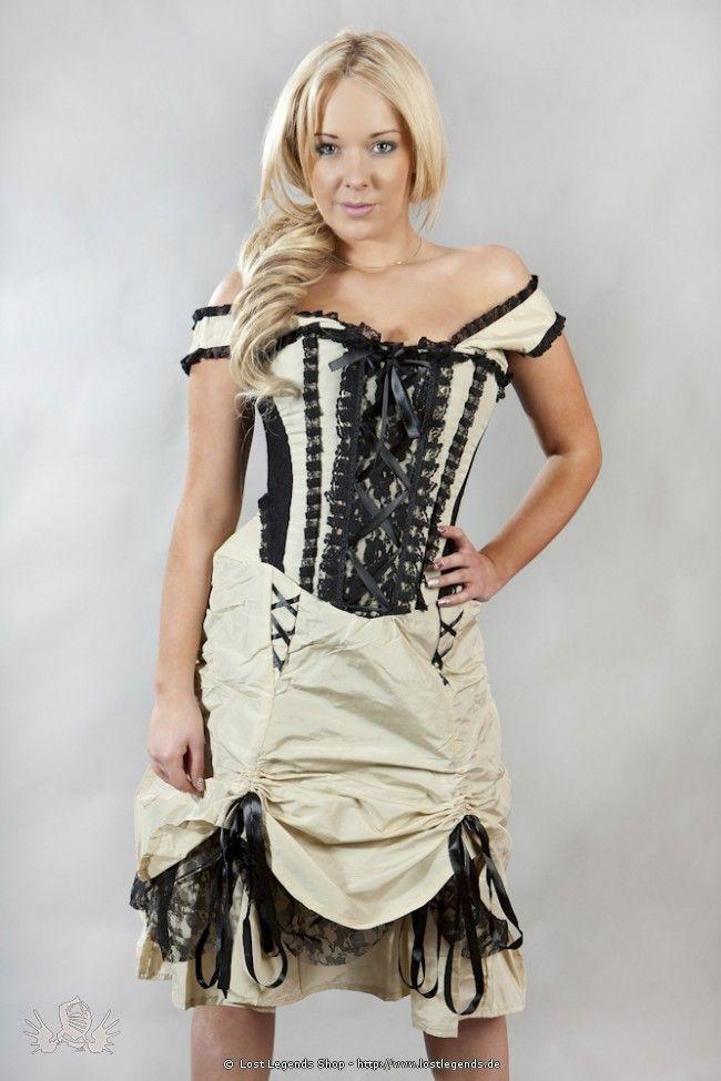 Steampunk Korsett-Kleid Creme-Schwarz