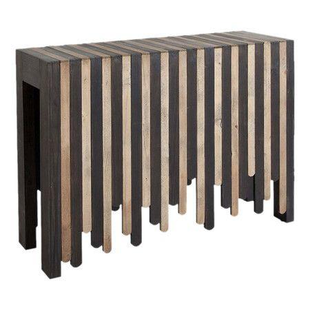 eye-catching console table showcases a geometric apron, block legs, ...